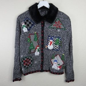 Ugly Christmas Sweater Button Up Snowman Removable